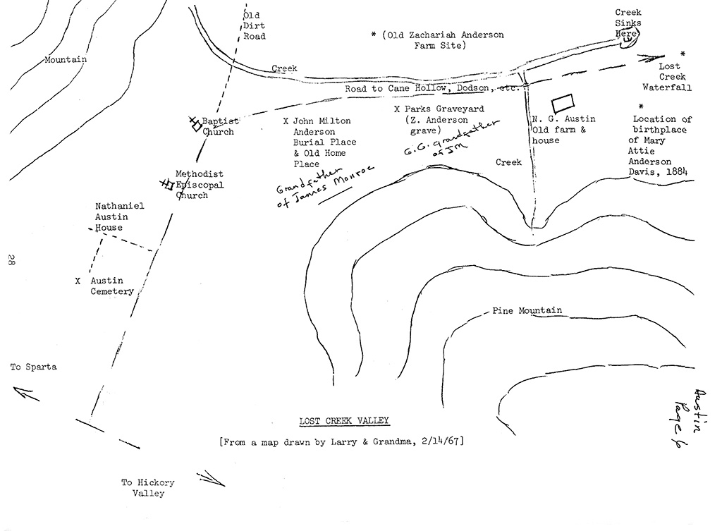 Hand drawn map of the Lost Creek area of southeastern White County, TN.